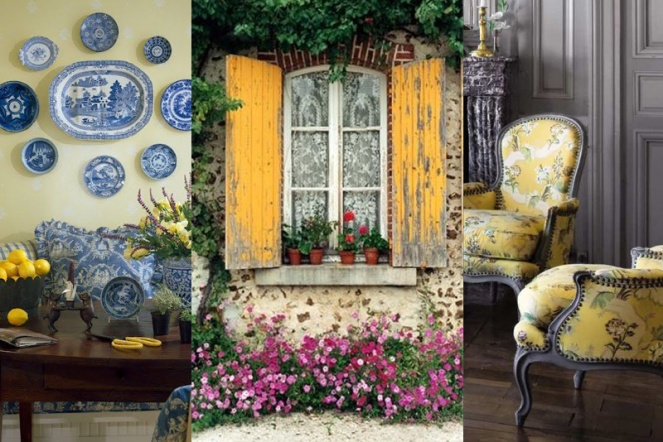 A pop of yellow adds vitality to your french country decor. Butter yellow walls, mustard furniture, or warm yellow upholstery adds charm to the room