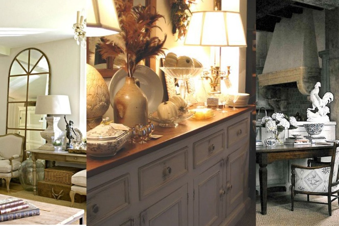 By choosing a mix of whites, grey and browns a French Country home is created over years of collecting things you love.
