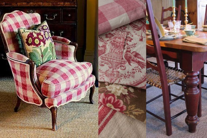 Reds add excitement to a French Country room with a mix of buffalo checks, toile and linens. Those fabrics paired with a barn red farmhouse table and chairs = French county perfection.