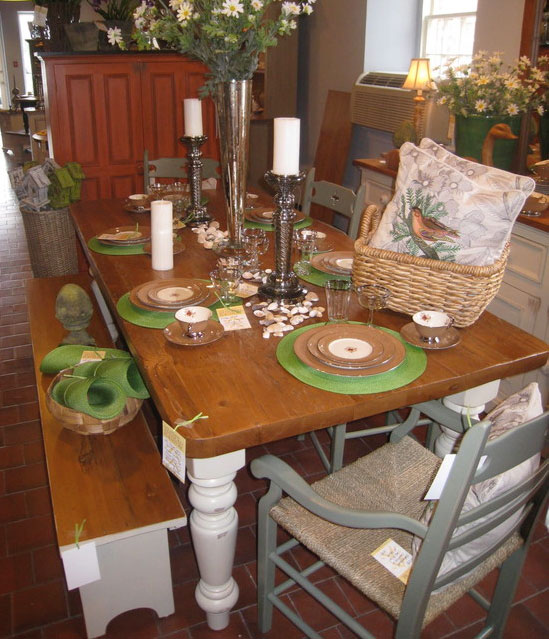 French Country Farm Table with Bench