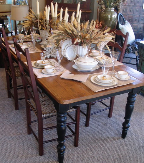Farm Table with Ladderback Chairs