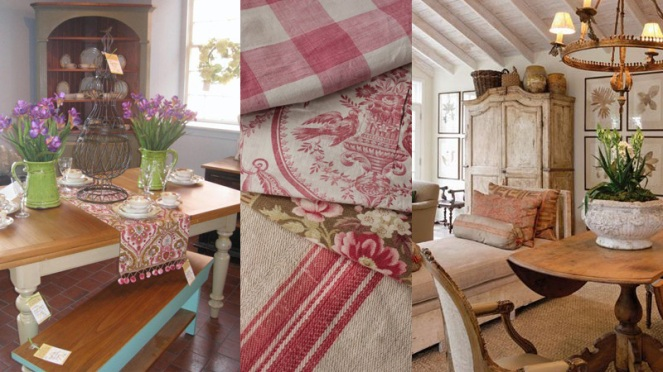 French country style today includes wood furniture, painted armoires, mixed fabrics, patterns and colors