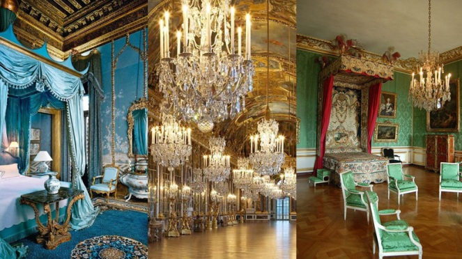 French decor featuring gilt, paintings, crystal chandeliers and brocade fabrics where the height of style in the 17th and 18th Century