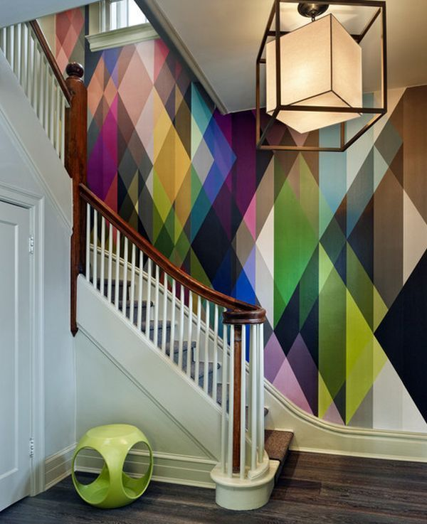 Color block wallpaper transforms ho-hum staircase to extraordinary.