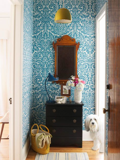 Bold pattern of this turquoise damask print adds personality to the antique mirror and dresser