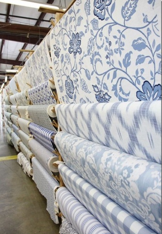 Trending today in French Country decor is larger scale prints and monochromatic colors.