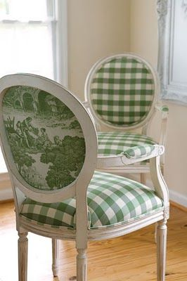 Green buffalo check with toile backs.