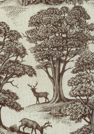 Modern deer motif Toile fabric by Lewis & Wood